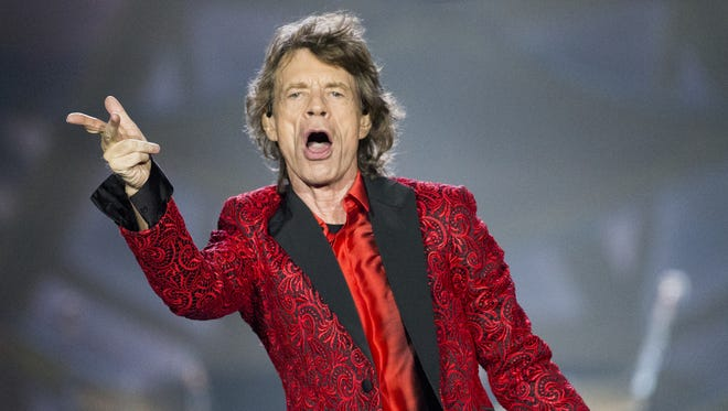 Mick Jagger, performs with The Rolling Stones at the Indianapolis Motor Speedway, Indianapolis, Saturday, July 4, 2015.