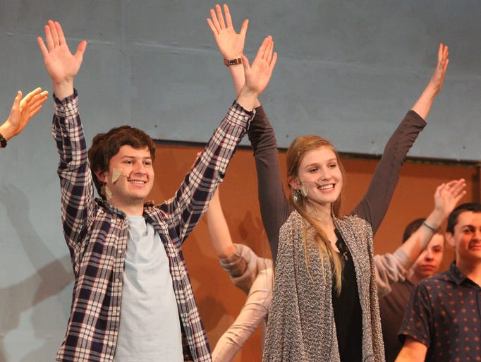 Zach Reiter and Alissa Finn rehearse for The Music Man at Tappan Zee High School March 19, 2014.