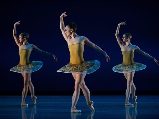 "Cincinnati Ballet dancers Gema Diaz, Sarah Hairston and Courtney Connor Jones are seen in Yuri Possokhov's ""Classical Symphony."""