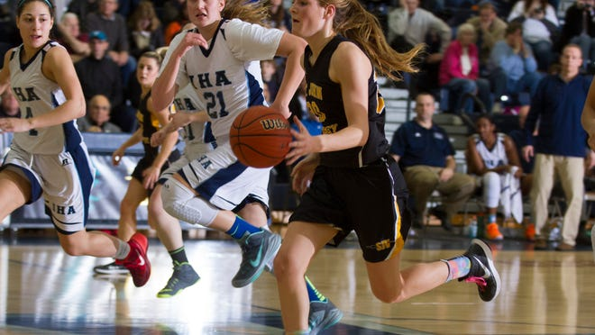 SJV's Kelly Campbell rushes down the court during a high speed second half with saw SJV change a deficit into a win. St John Vianney vs Immaculate Heart NJSIAA State Girls Basketball Non-Public A Group Championshp on March 14, 2015 in Toms River. Peter Ackerman/Staff Photographer