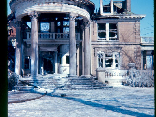 The ruins of the Frank C. Ball mansion on the grounds