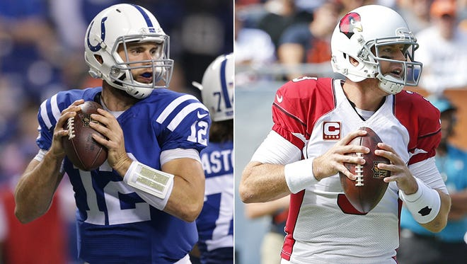 Andrew Luck (left) and Carson Palmer