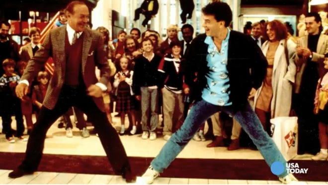 """Robert Loggia and Tom Hanks in a scene from the movie """"Big."""""""