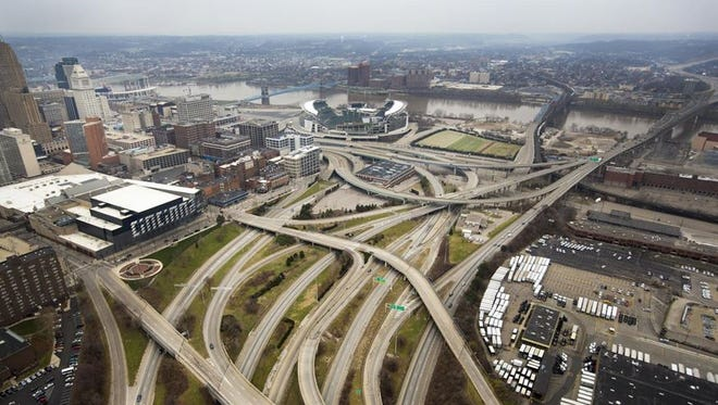 An overhead look at the Brent Spence Bridge corridor. The current bridge, in the upper-right corner, was built in 1963. Each day, it carries far more vehicles than it was intended to.