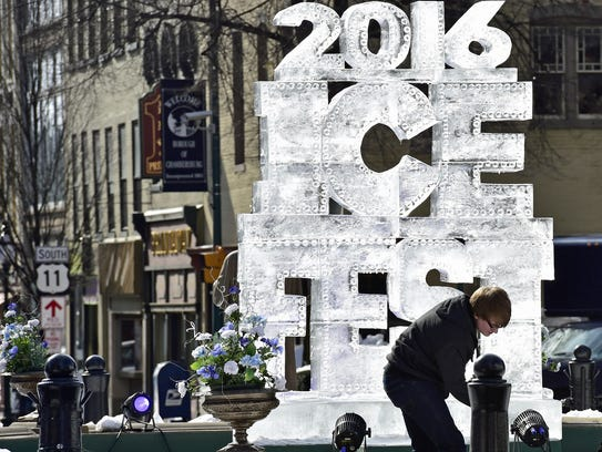 A large ice carving at IceFest in 2016.