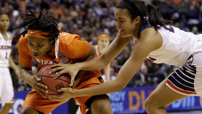 Syracuse Orange guard Cornelia Fondren (11) fights with Syracuse Orange guard Brandi Fowler (24) for a rebound during the NCAA women's college basketball championship game at Bankers Life Fieldhouse on April 5, 2016.