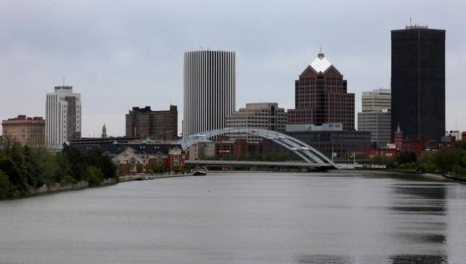 The Rochester skyline photographed from the Ford Street Bridge.