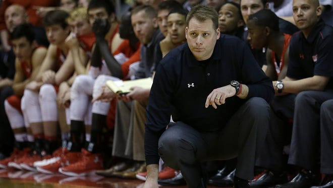 Southport's head coach Kyle Simpson looks on from the sideline during their IHSAA Class 4A Semi-State Boy's Basketball game Saturday, Mar 19, 2016, afternoon at Richmond High School in Richmond IN.