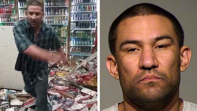 Frank Jude Jr.  is shown trashing a convenience store in a screen grab from a video posted on Facebook. At right is his jail mugshot.