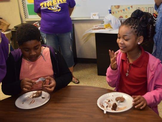 Julius Patrick Elementary School students Lynn Onishea