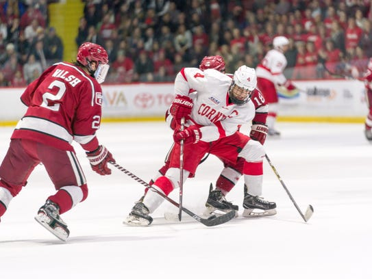 Cornell senior forward Alex Rauter of Chatham fights