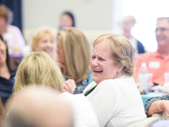Joyce Beck enjoys a laugh while attending the Alzheimer's