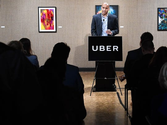 Marco McCottry, general manager of Uber in Indiana and Illinois speaks at a kick-of for the ride-sharing program in Evansville Wednesday, January 25, 2017.