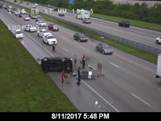 Overturned vehicle on Interstate 95