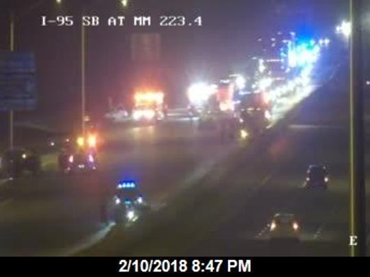 Area of North Brevard I-95 crash. This is looking southbound,