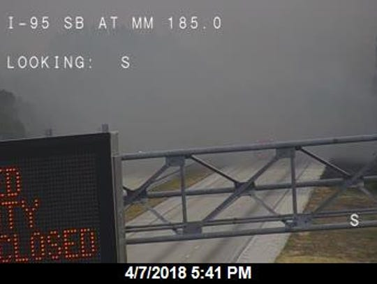 Smoke covers I-95 looking southbound at the Lake Washington