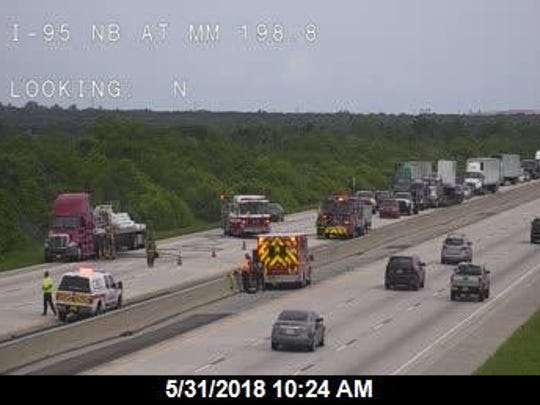 Tractor-trailer fire reported on southbound Interstate 95 near Cocoa.