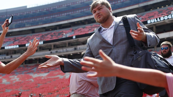 Georgia offensive lineman Cade Mays (77) at the Dawg Walk before the start of an NCAA football game between Georgia and Murray State in Athens, Ga., on Saturday, Sept. 7, 2019.