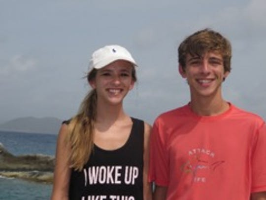 Blair, left, and Jack, right, in the  British Virgin Islands