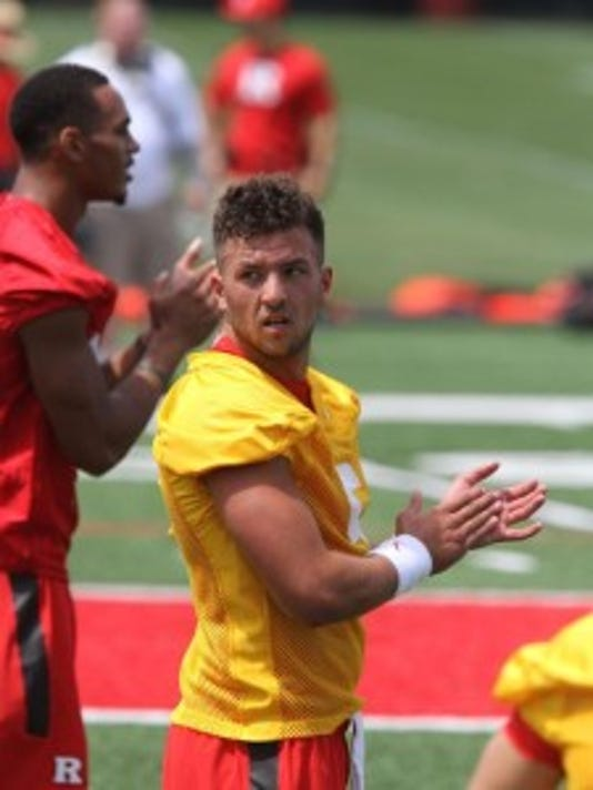Rutgers quarterback Chris Laviano stretches as the Scarlet Knights held their first practice on Monday.(Photo: Tanya Breen/staff photographer)