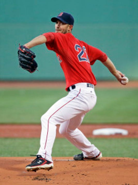 Boston pitcher Rick Porcello delivers against Minnesota. (AP Photo/Elise Amendola)