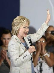 Hillary Clinton at a campaign appearance in Ames in July.