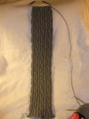 I designed this reversible-cable scarf in 2010.