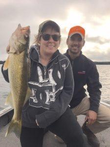 Jeni Rolsing and Brandon Riel of Hudson behind a nice Hayward area walleye.