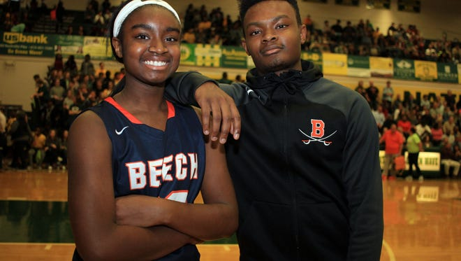 Beech sister and brother basketball players Deshiya and Dyilin Hoosier pose between games at Gallatin on Friday, Jan. 26, 2018.