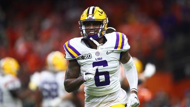 Jan 13, 2020; New Orleans, Louisiana, USA; LSU Tigers wide receiver Terrace Marshall Jr (6) against the Clemson Tigers in the College Football Playoff national championship game at Mercedes-Benz Superdome. Mandatory Credit: Mark J. Rebilas-USA TODAY Sports
