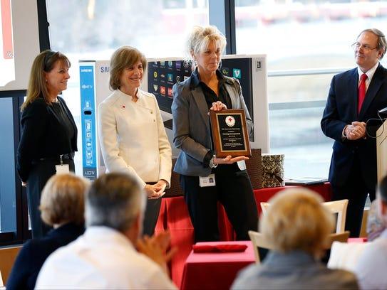 Corning Inc.'s Kathy Eisele, who helps organize blood