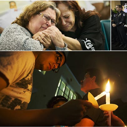 Scenes from a community prayer service Thursday at