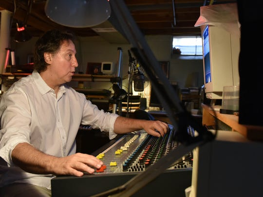 Vineland resident, Artist Paul Jost makes music in his basement with a mixer, drums, keyboard, guitar, and studio. May 11, 2015. Staff photo/Craig Matthews