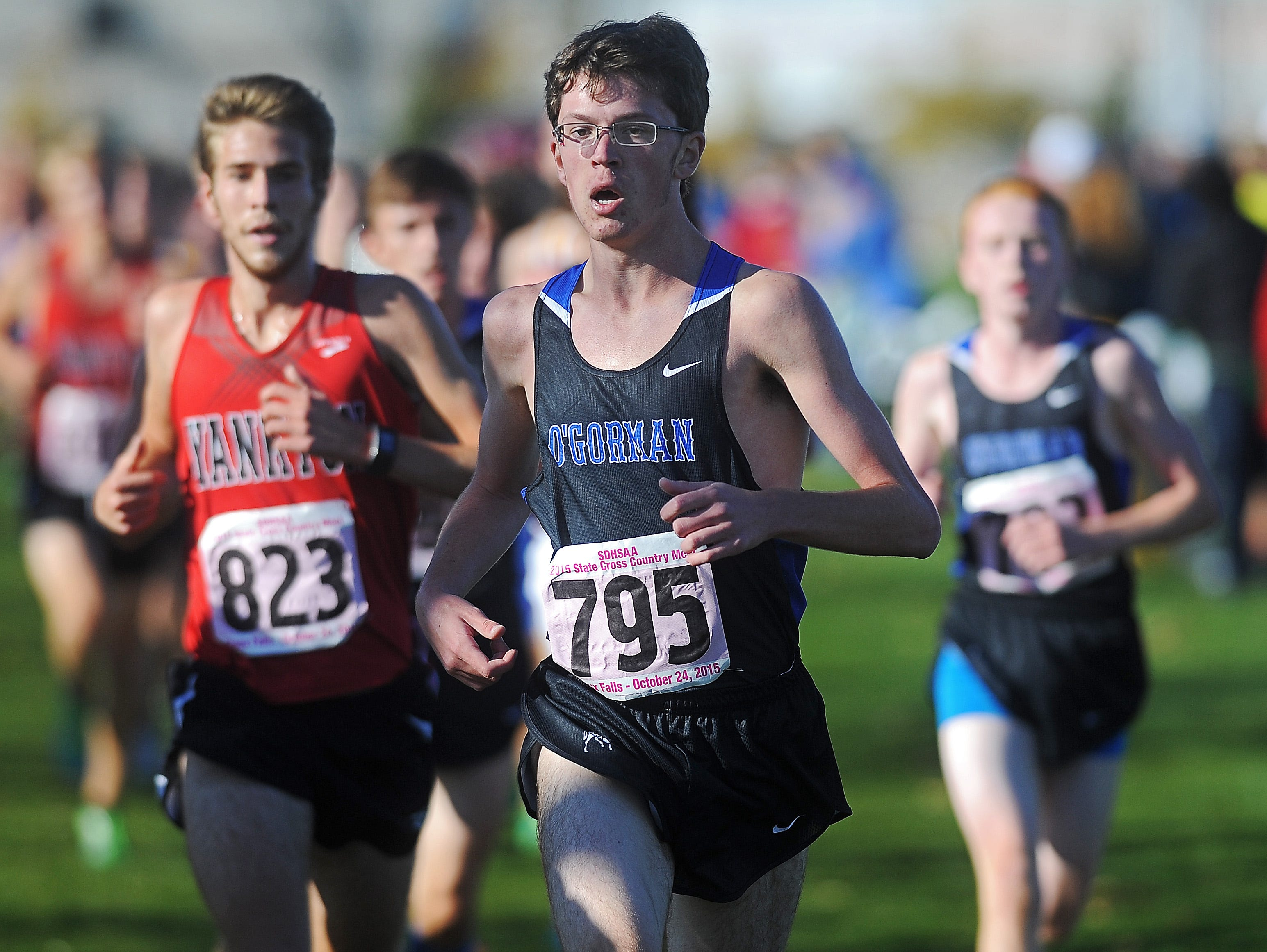 O'Gorman's Ryan Westendorf (795) runs in the Class AA cross country race Saturday at Yankton Trail Park. Westendorf finished 38th.