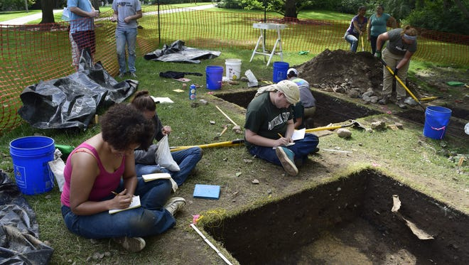 MSU students work on a campus dig conducted over the summer.