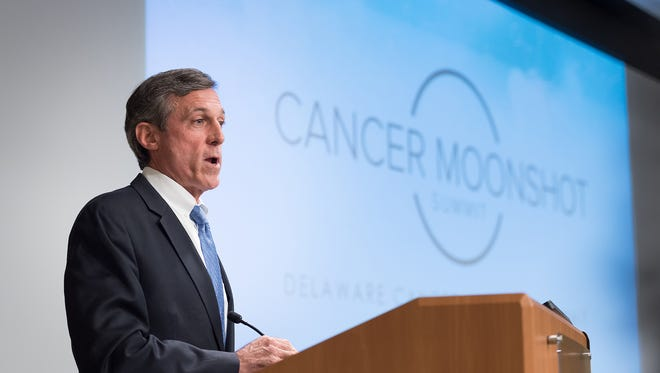 U.S. Rep. John Carney, D-Del., speaks about cancer care at a summit at Christiana Hospital in Stanton on Wednesday. The event was tied to a summit organized by Vice President Joe Biden in Washington.