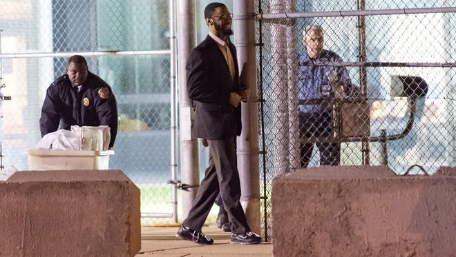 Isaiah McCoy walks out of Howard R. Young Correctional Institution in Wilmington in January 2017.