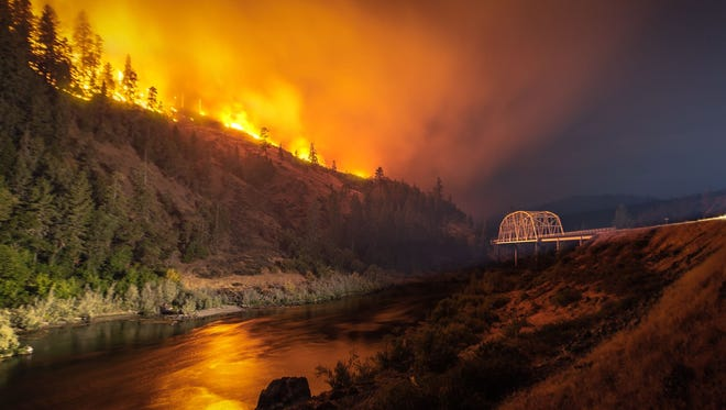 Views of the Taylor Creek Fire above the Rogue River near Hellgate Canyon, west of Grants Pass.