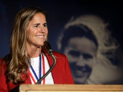 Brandi Chastain plaque in Bay Area Sports Hall of Fame looks nothing like her