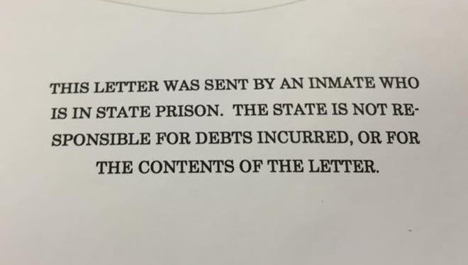 The note on the outside of letters sent from state prison inmates.
