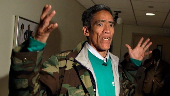 """Ted Williams, a homeless man from Columbus, Ohio, whose deep, velvety voice and touching story prompted an outpouring of sympathy and job offers from across the country, is interviewed after his appearance on the NBC """"Today"""" television show, in New York on Jan. 6, 2011."""