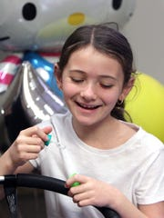 Kaylee Fried, 7, of Harriman, visits Good Samaritan Hospital in Suffern April 13, 2017. She was born at the hospital and was transferred to Maria Fareri Children's Hospital where she was treated for a birth defect. She is now an ambassador for Maria Fareri's Go the Distance walk and family fun day.