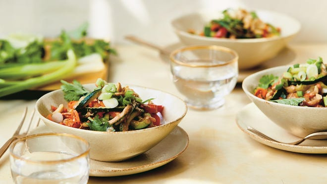 Carrot and zucchini noodles, served with an almond butter sauce, are from a new cookbook called 'Just the Good Stuff.'