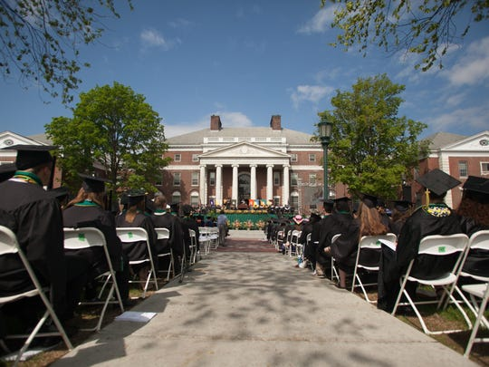 University of Vermont graduates gather for commencement in May.
