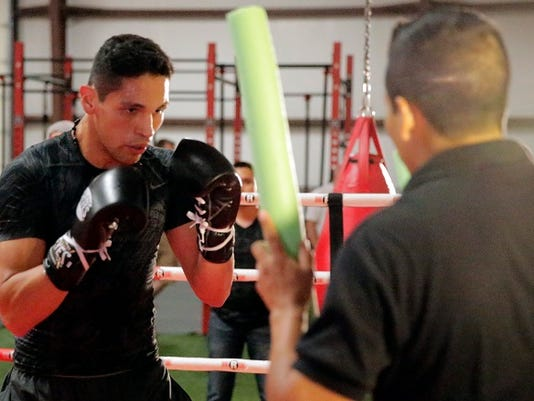 Marcos Reyes goes through a light workout Wednesday afternoon at the Redstar Fitness Center where all the boxers on Saturdays two boxing cards worked out for the media. Reyes will be featured in the main event Saturday night on the ShowTime card against Julio Cesar Chavez jr.