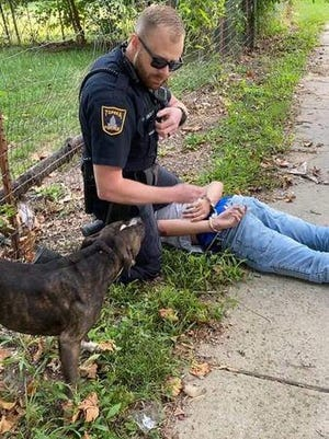 Topeka police said an officer on Saturday handcuffed a 14-year-old boy who refused to comply with commands.