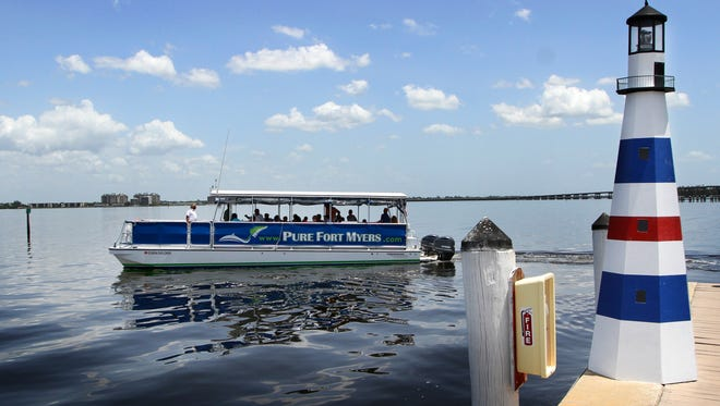 Passengers participating in a Pure Fort Myers Caloosahatchee River Cruise depart from The Marina at Edison Ford