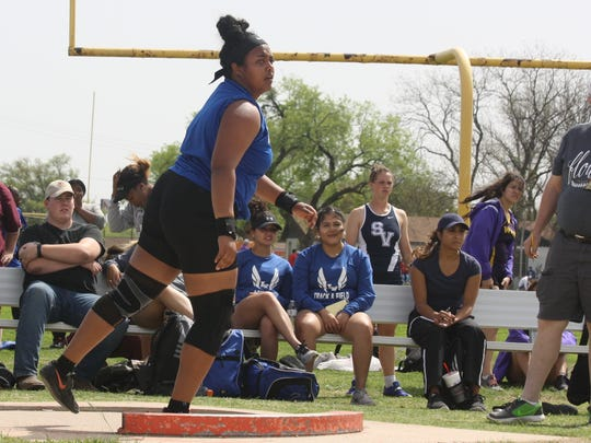 Lake View's Mya Lindsey watches her result in the Division III girls shot put at the San Angelo Relays at San Angelo Stadium. The senior won the event for the third time.