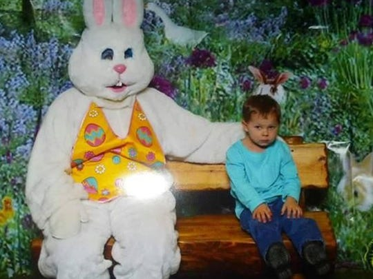 "Brett, 2: ""I'll get my picture taken, but the bunny better keep his distance."""