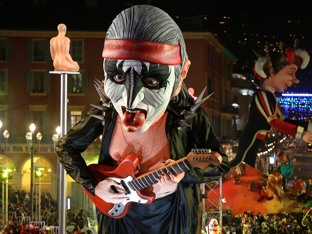 A float depicting a singer in the rock band Kiss moves down a street on Feb. 17 at the 131st Nice Carnival parade in southeastern France.